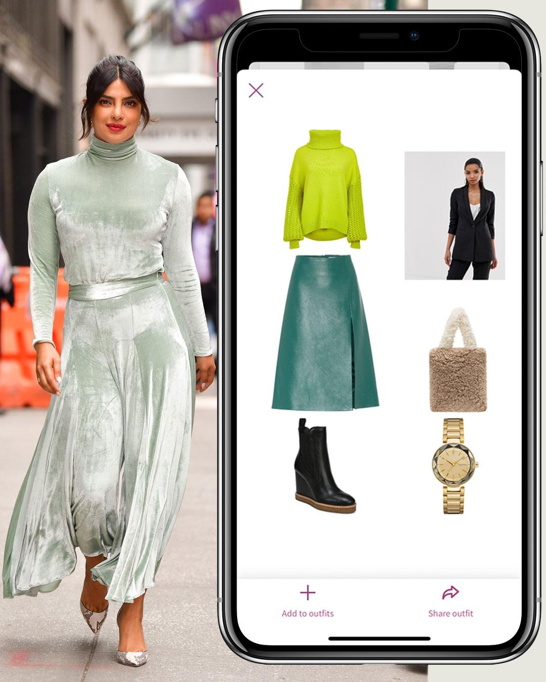 "Priyanka Chopra outfit and La Koketa App ""What to wear?"" screen"