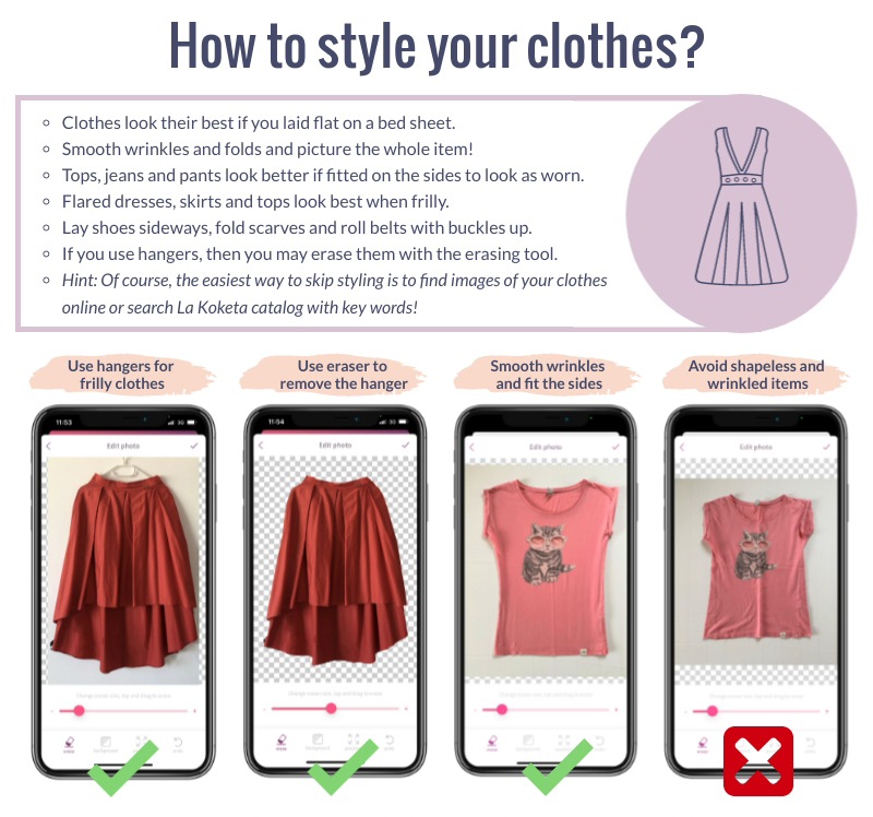 How to Style your clothes with La Koketa app explained in screens